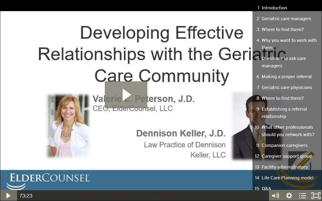 Developing Effective Relationships with the Geriatric Care Community