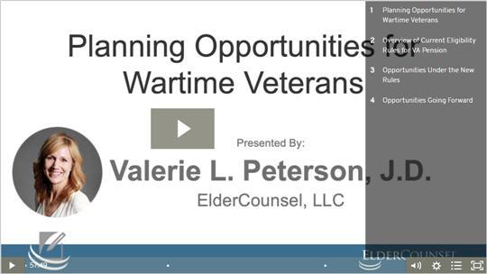 Planning Opportunities for Wartime Veterans
